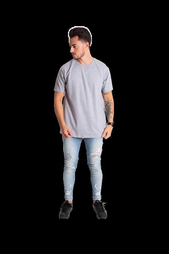 Camiseta masculina fio 30/1 algodão CINZA MESCLA adulto