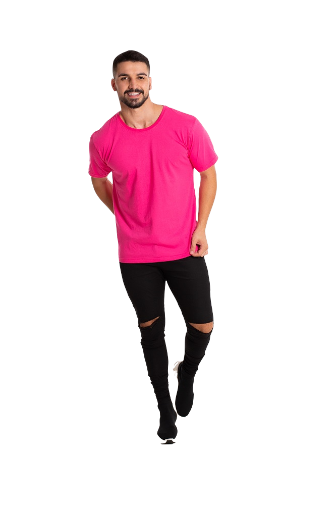 Camiseta masculina fio 30/1 algodão ROSA PINK adulto