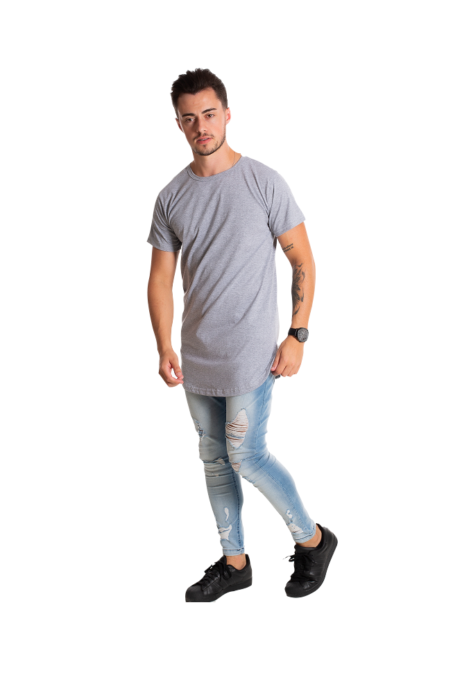 Camiseta masculina longline oversized swag mescla