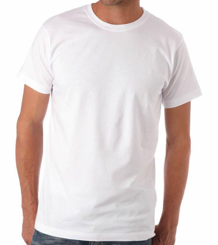 Kit 5 camisetas fio 30 algodão penteado BRANCAS