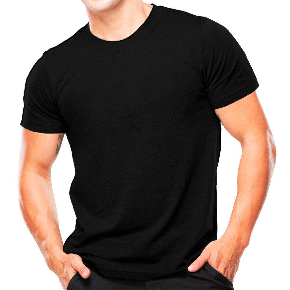 Kit 5 camisetas fio 30 algodão penteado PRETAS