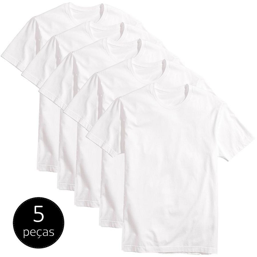 Kit 5 Camisetas Lisas Masculinas Básicas fio 30 algodão BRANCAS