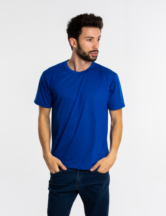 Kit 5 camisetas malha fria PV AZUL ROYAL adulto