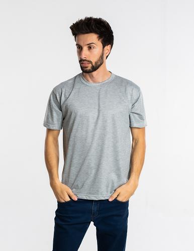 Kit 5 camisetas malha fria PV CINZA MESCLA adulto