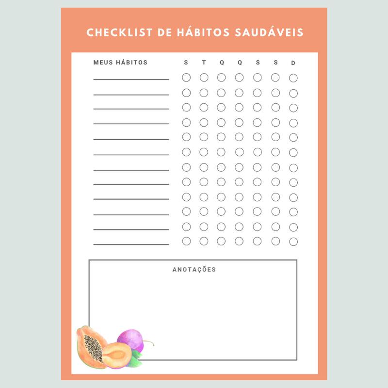 Checklist de Hábitos Saudáveis - Hortifruti
