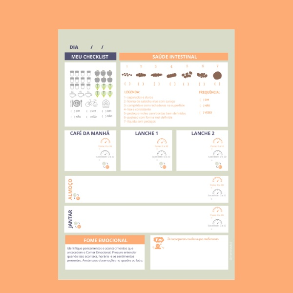 Diário Alimentar com Checklist e Escala de Bristol