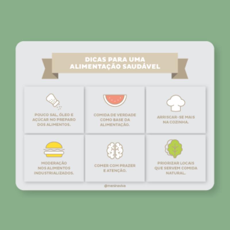 Ímã de Geladeira - Dicas Alimentação Saudável (10 un)