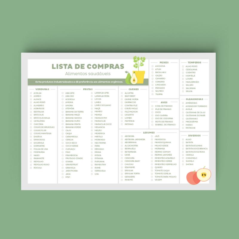 Lista de Compras Alimentos Saudáveis - Linha Consultório