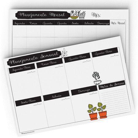Planejamento Semanal e Mensal - B&W