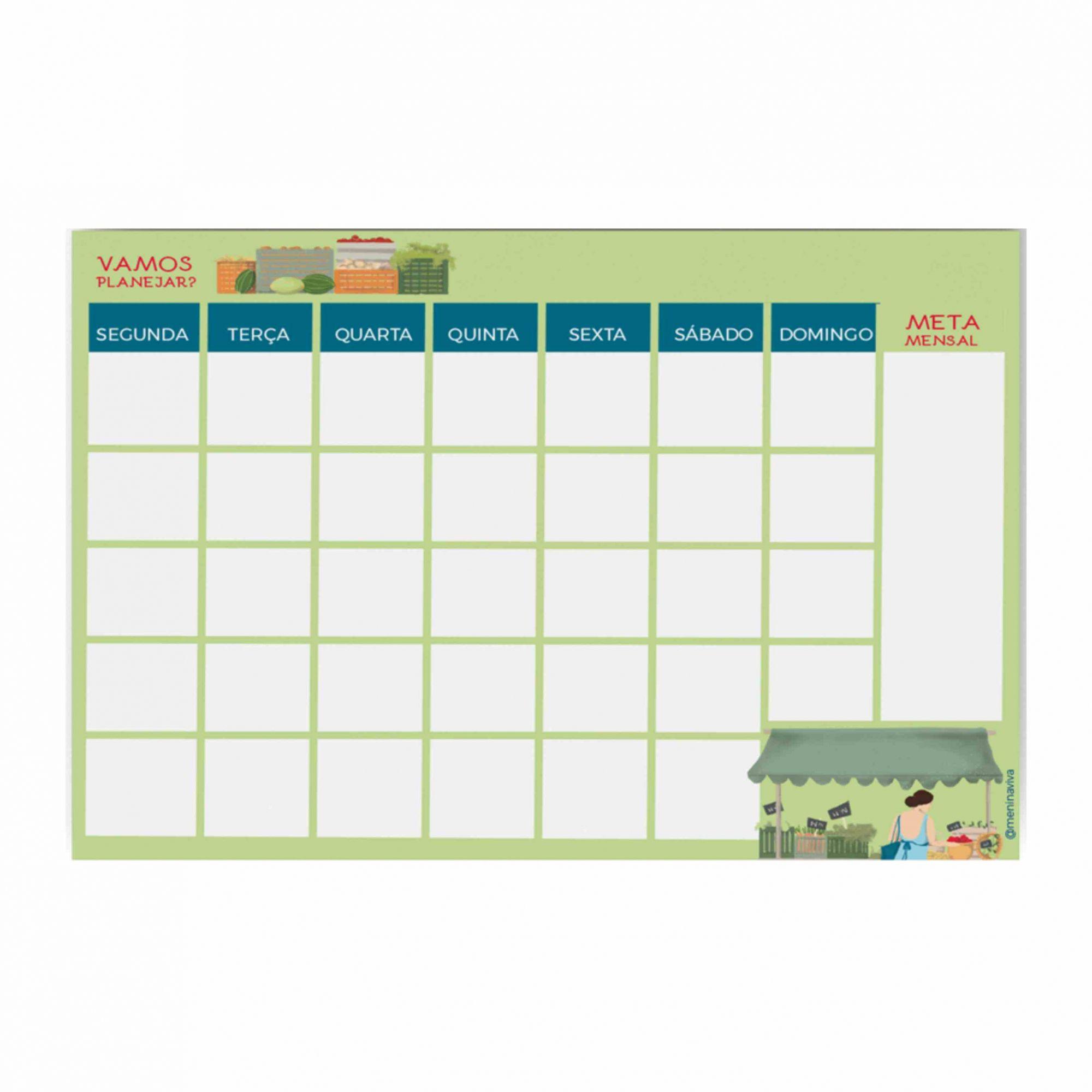 Planejamento Semanal e Mensal - Dia de Feira