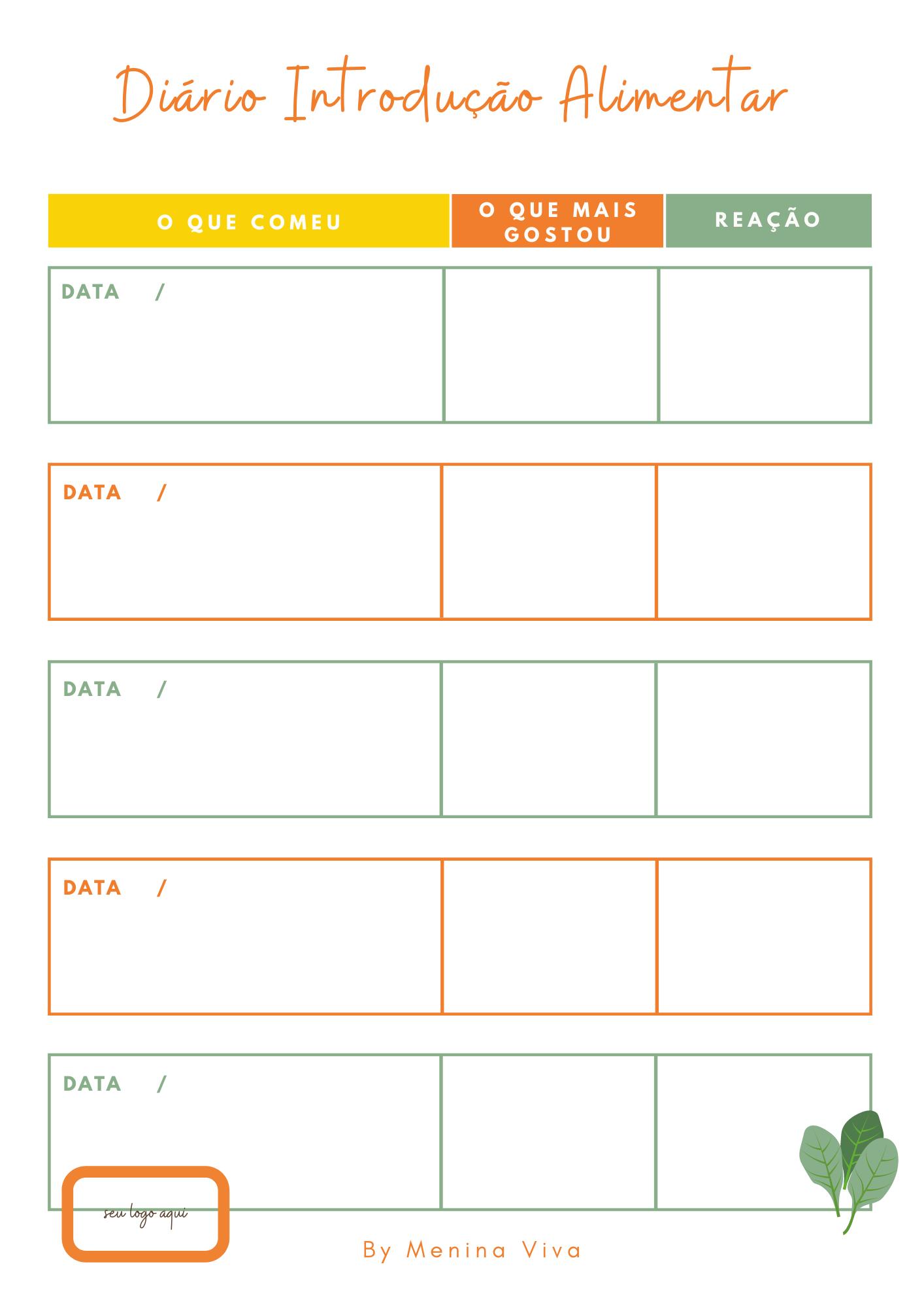Versão Digital (PDF) - Diário Introdução Alimentar