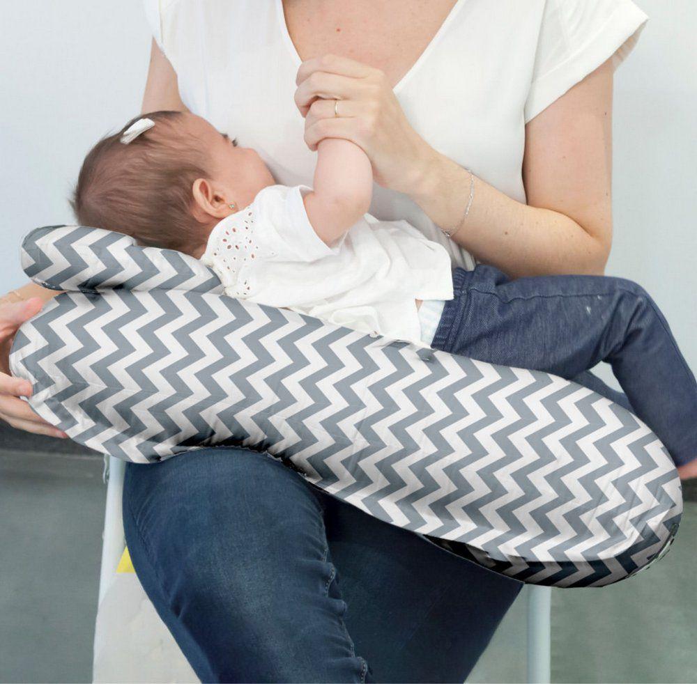 Almofada de Amamentação com Travesseiro Chevron Cinza Buba