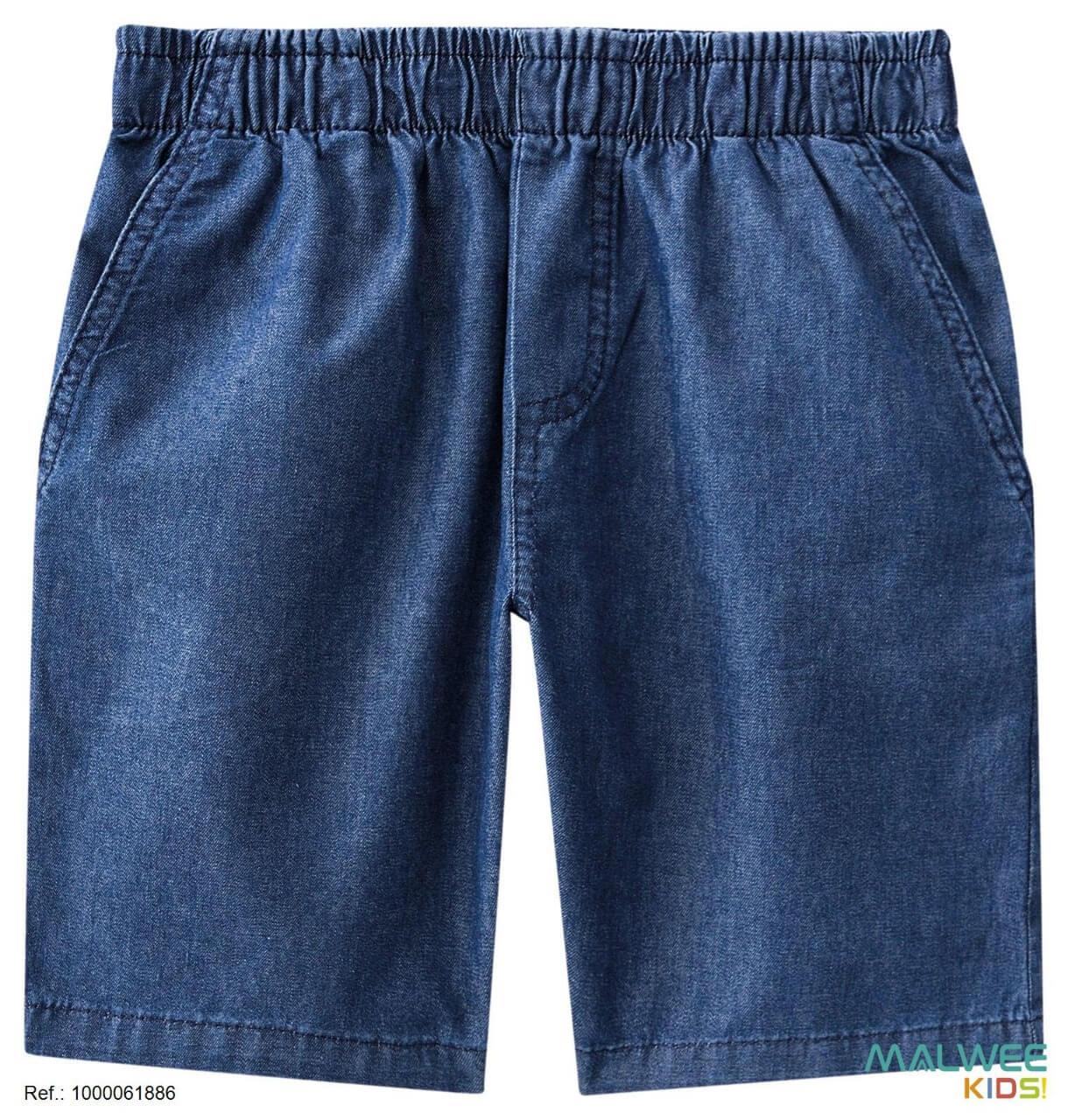 Bermuda Jeans em Algodão Azul Escuro Malwee