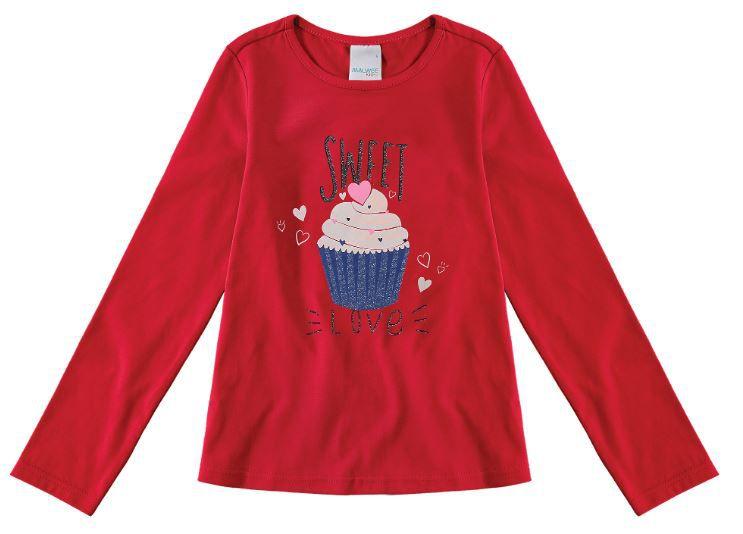 Blusa Algodão não peluciado Malwee Cupcake