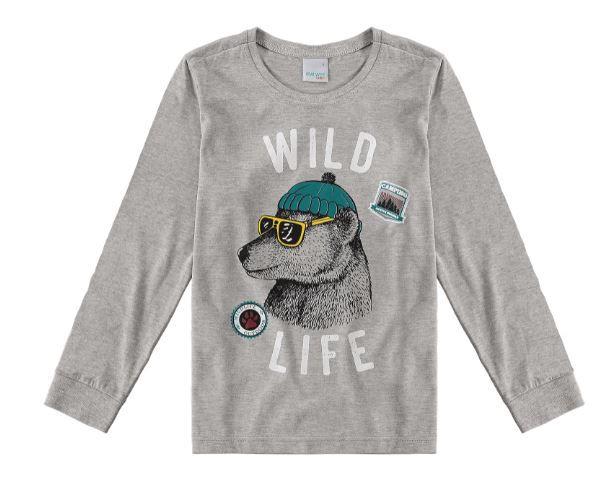Blusa Algodão não peluciado Malwee Wild Life