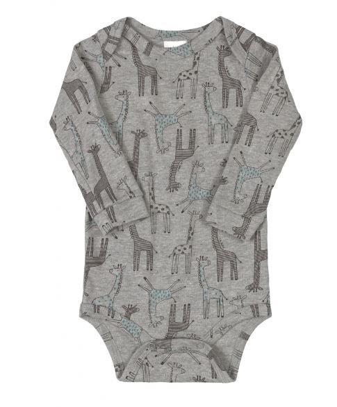 Body Algodão Manga Longa Up Baby Girafas