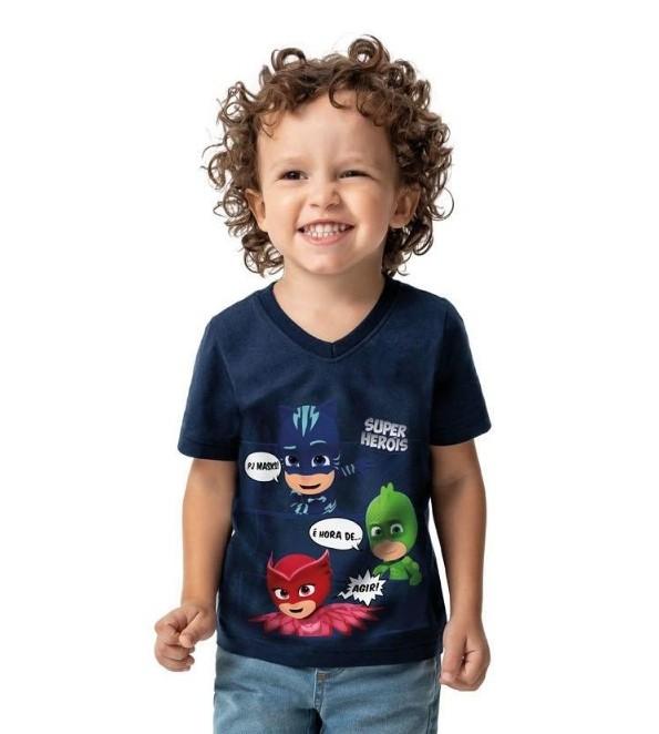 Camiseta Algodão Super Heróis Pj Masks