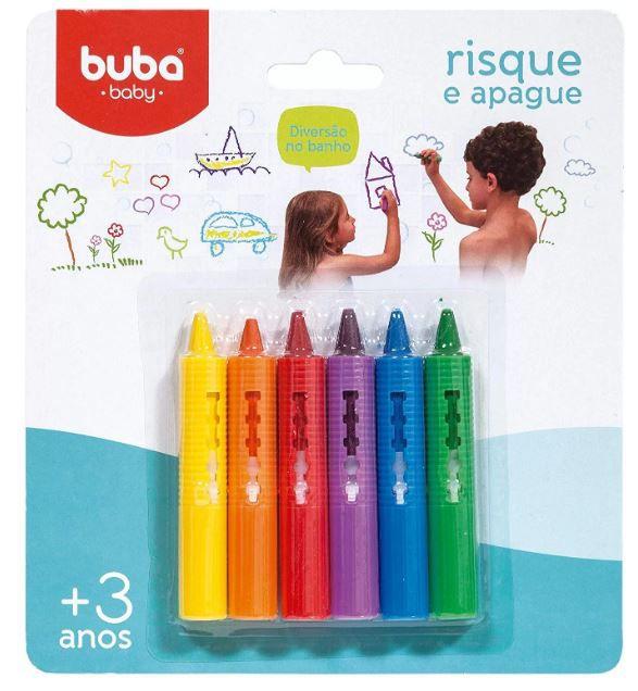Giz de Banho Risque e Apague Buba - Kit com 6 gizes