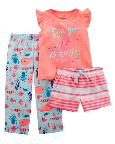Pijama Carter's Algodão Fundo do Mar 3 peças