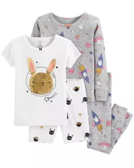 Pijama Algodão Carter's Coelhinho 4 peças