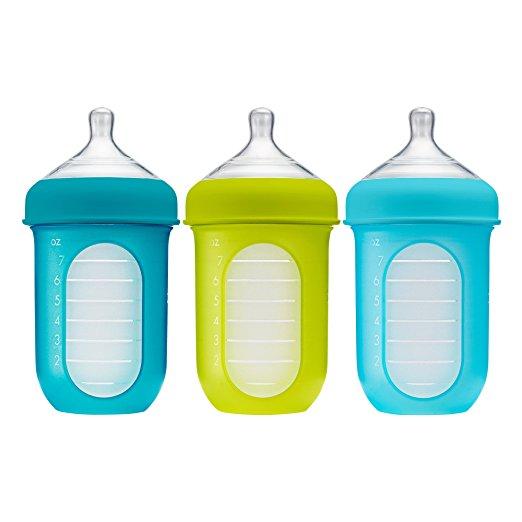 Kit Mamadeiras Boon Nursh 236ml Verde e Azul - 3 unidades