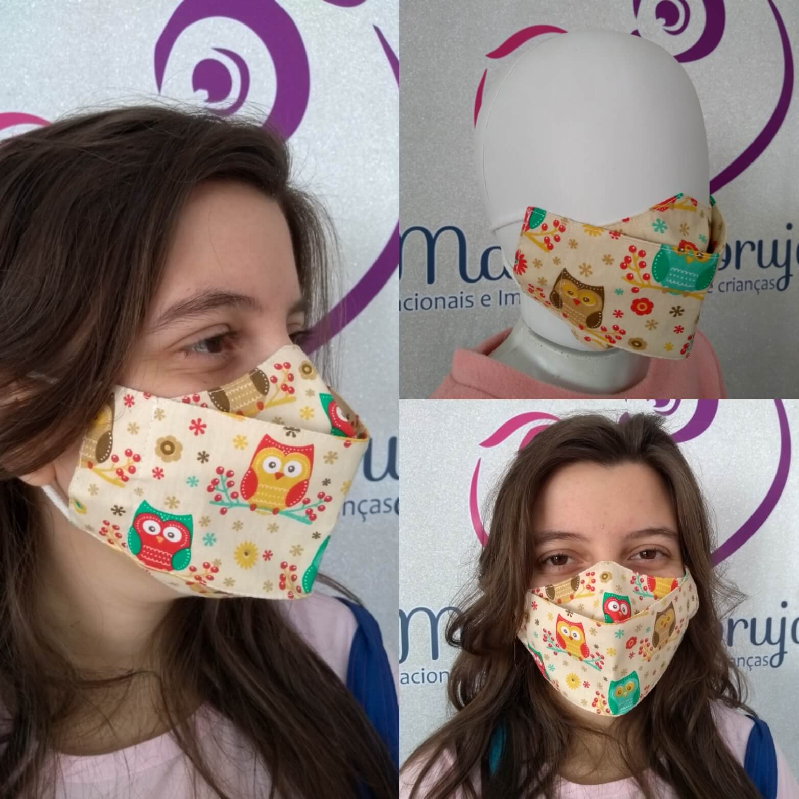 Kit 2 Máscara Adulto e Infantil - Corujas