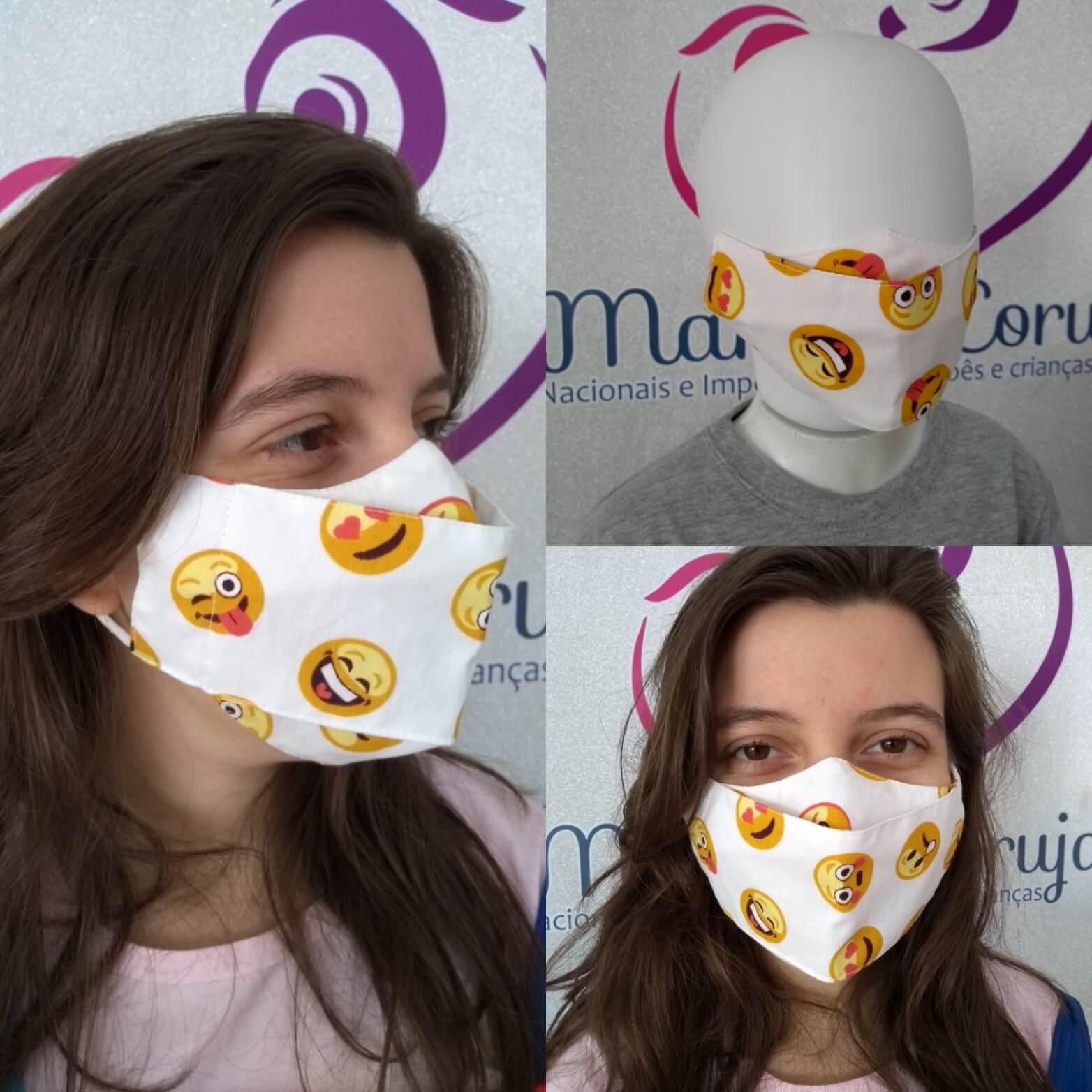 Kit 2 Máscara Adulto e Infantil - Emojis