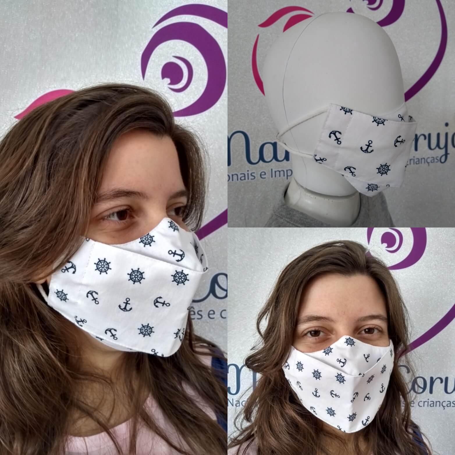 Kit 2 Máscara Adulto e Infantil - Náutico Branco