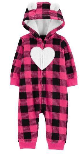 Macacão com capuz Carter's Fleece Coração