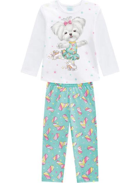 Pijama Algodão Cachorrinha Patinadora KYLY - Brilha no Escuro