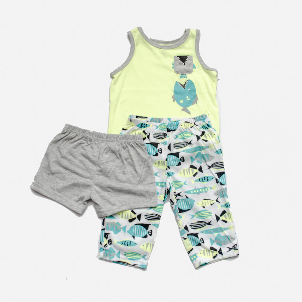 Pijama Carter's Peixinhos 3 peças
