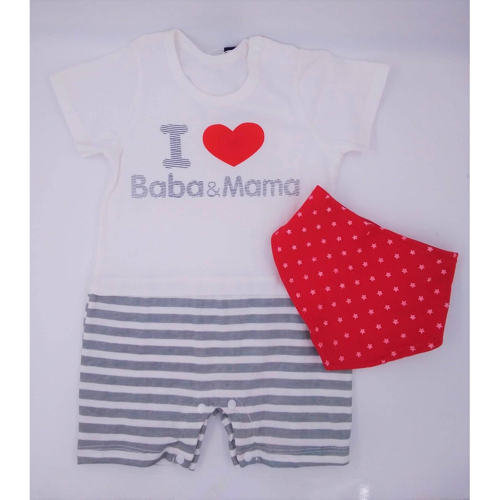 Romper Banho de Sol I Love Baba & Mama com babador Yier Ying