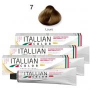 Kit 3 Tinta De Cabelo Profissional 7.0 Louro Itallian Color