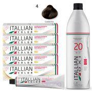 Kit 5 Tinta de Cabelo 4.0 Profissional Itallian Color + Ox 20