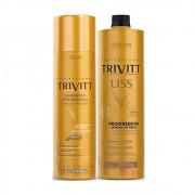 Kit Escova Progressiva Profissional Trivitt Liss E Shampoo Pós-Química