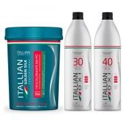 Kit Pó Descolorante Itallian Color Dust Free Profissional + Ox 30 e 40vol