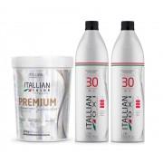 Kit Pó Descolorante Itallian Color Premium Profissional + 2 Ox 30vol