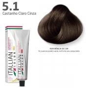 Tinta Coloração Profissional Itallian Color 5.1 Castanho Claro Cinza 60g