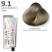 Tinta Coloração Profissional Itallian Color 9.1 Louro Claríssimo Cinza 60g