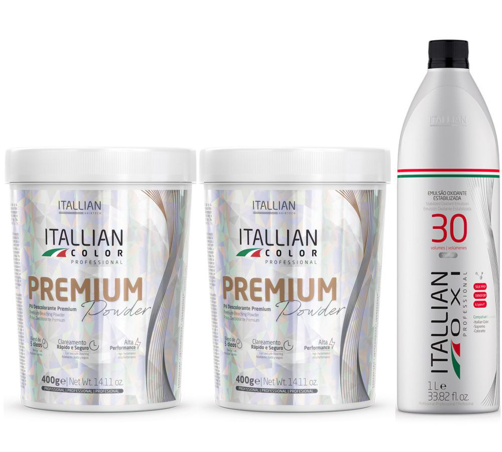 Kit 2 Pó Descolorante Itallian Color Premium Powder + Ox 30vol
