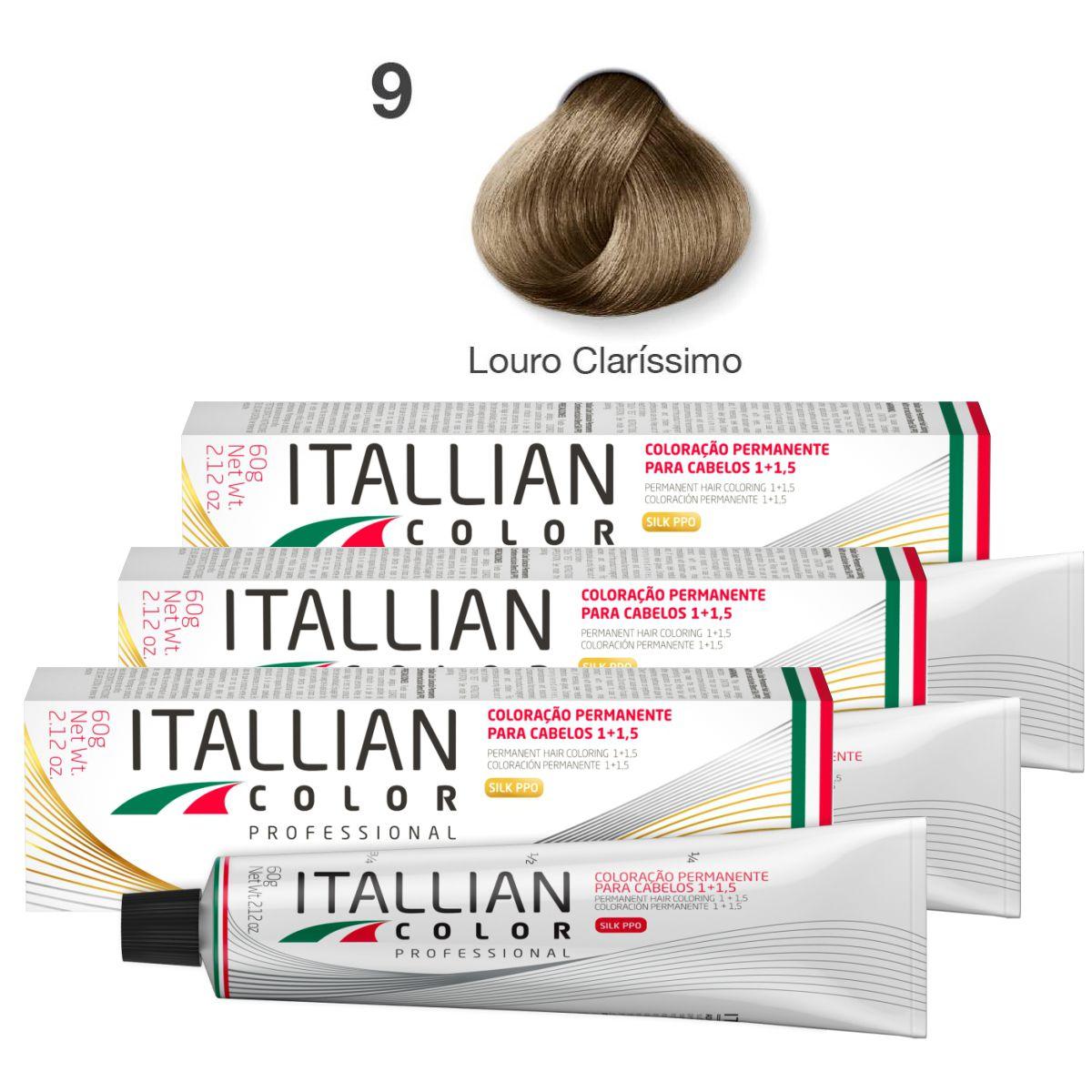 Kit 3 Tinta De Cabelo Profissional 9.0 Louro Claríssimo Itallian Color