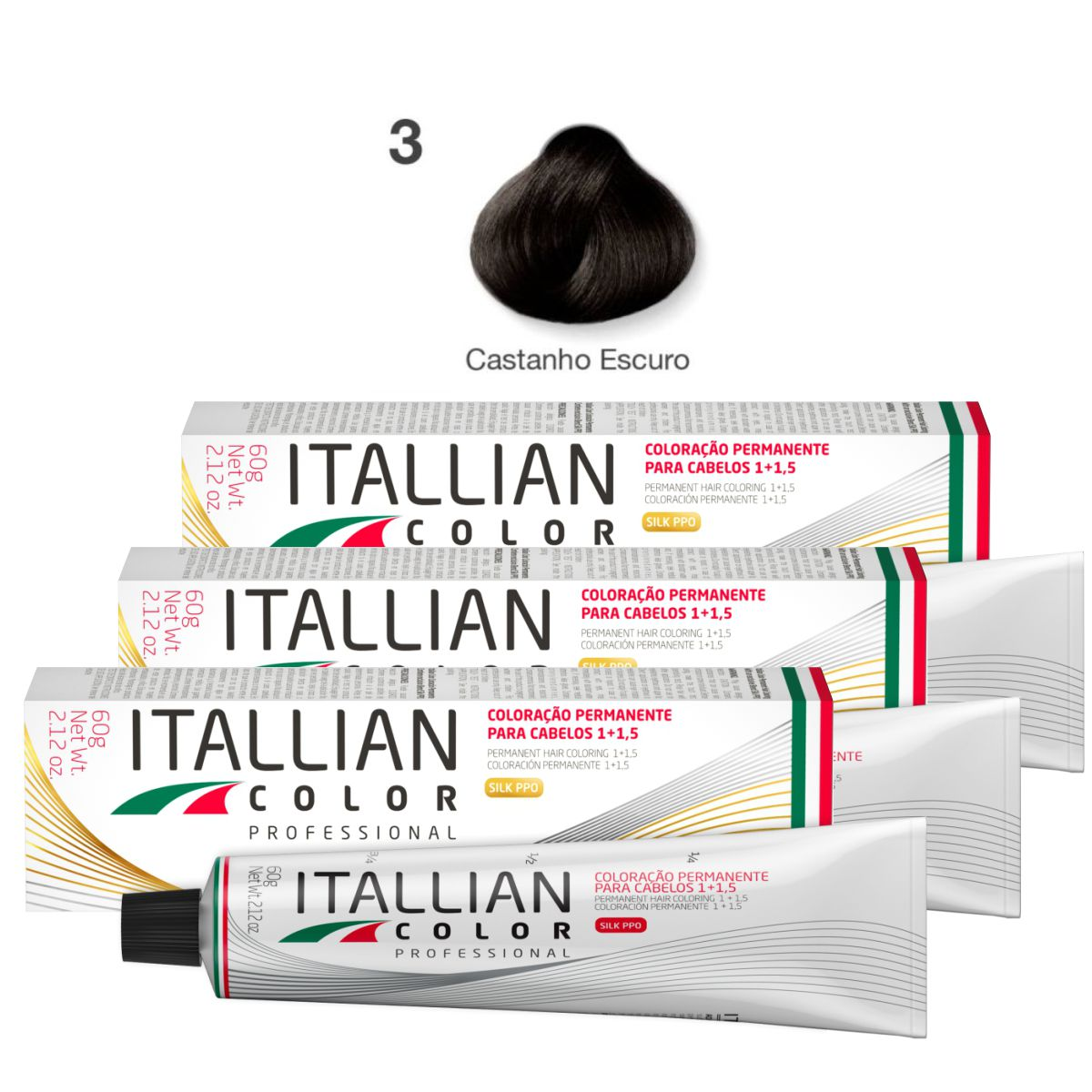 Kit 3 Tinta De Cabelo Profissional 3.0 Castanho Escuro Itallian Color