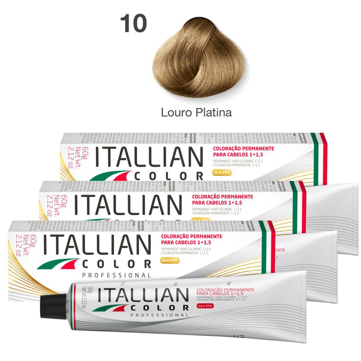 Kit 6 Tinta De Cabelo Profissional 10.0 Louro Platina Itallian Color