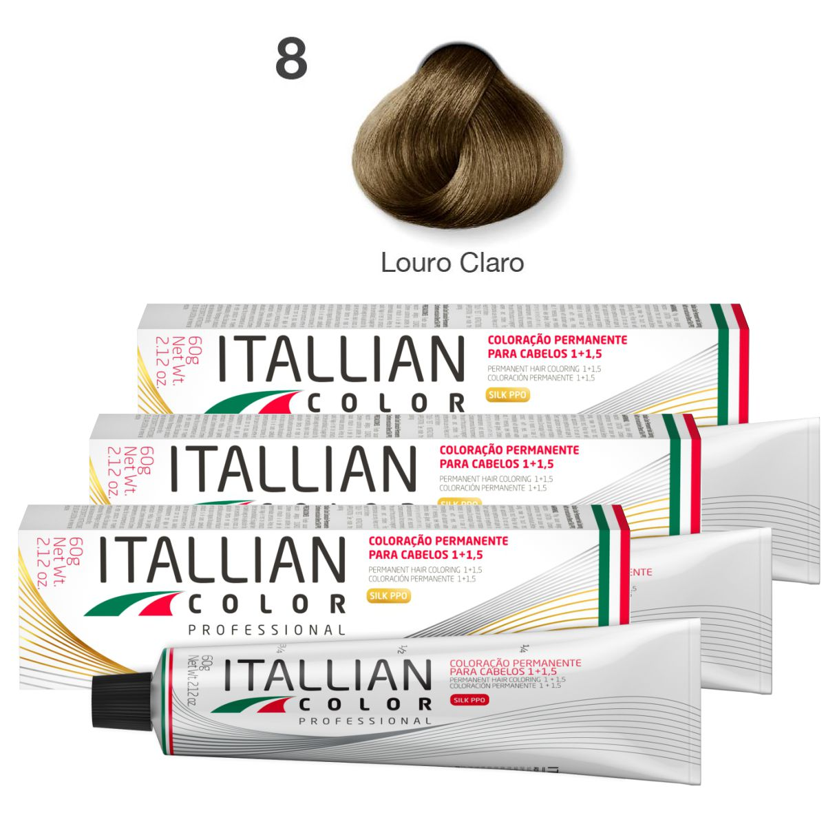 Kit 6 Tinta De Cabelo Profissional 8.0 Louro Claro Itallian Color