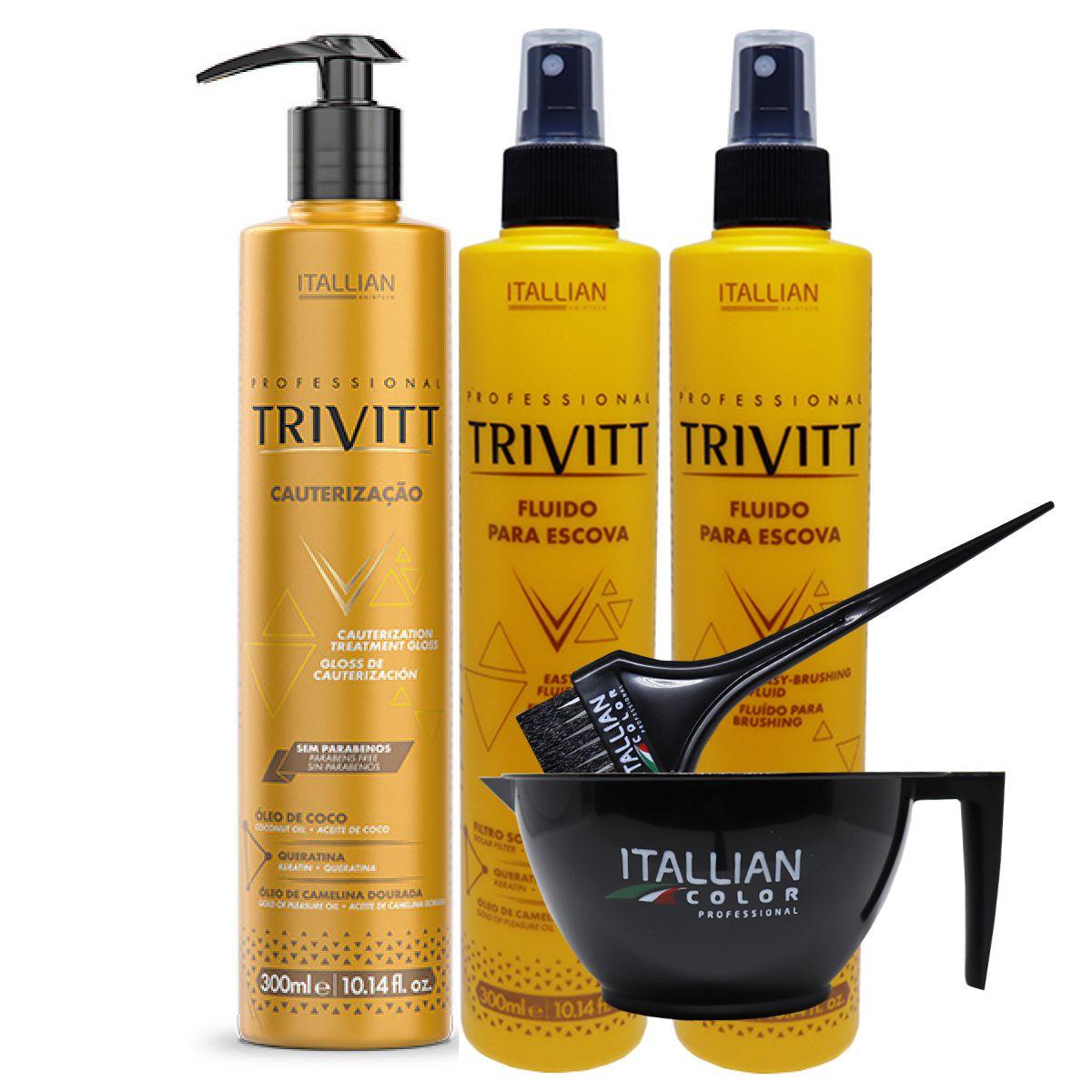 Kit Cauterização Trivitt E 2 Fluido Protetor Térmico Para Escova