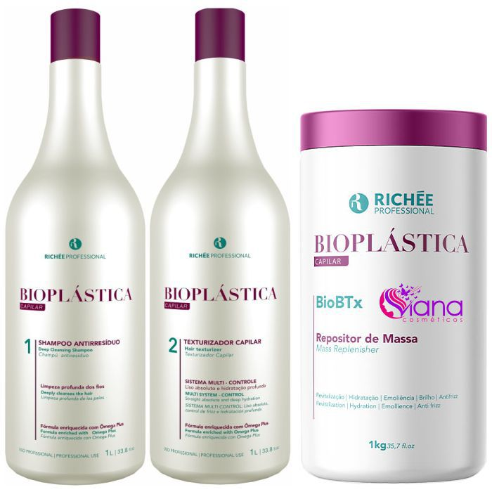 Kit Escova Progressiva e Botox Profissional Biobtx Bioplástica Richée