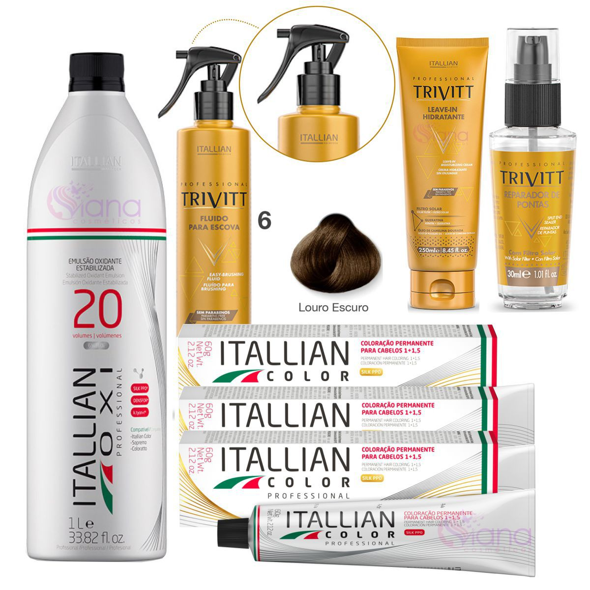 Kit Europa Trivitt Itallian Color Tinta de Cabelo 6.0 Completo