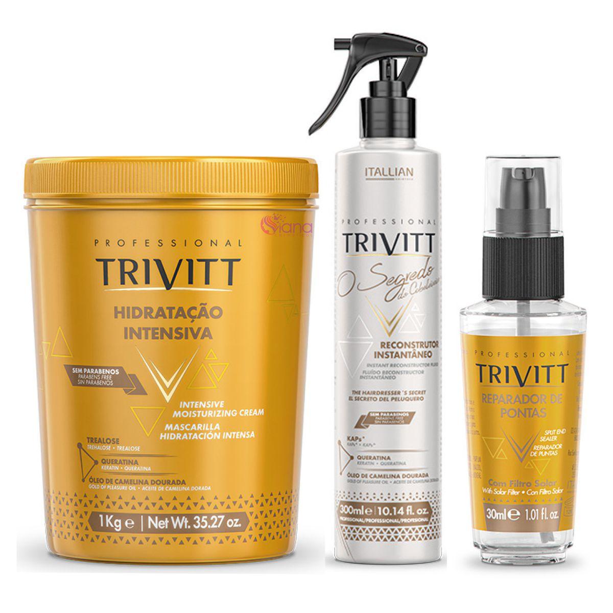 Kit Hidratação e Reconstrução Profissional Trivitt c/ reparador de pontas