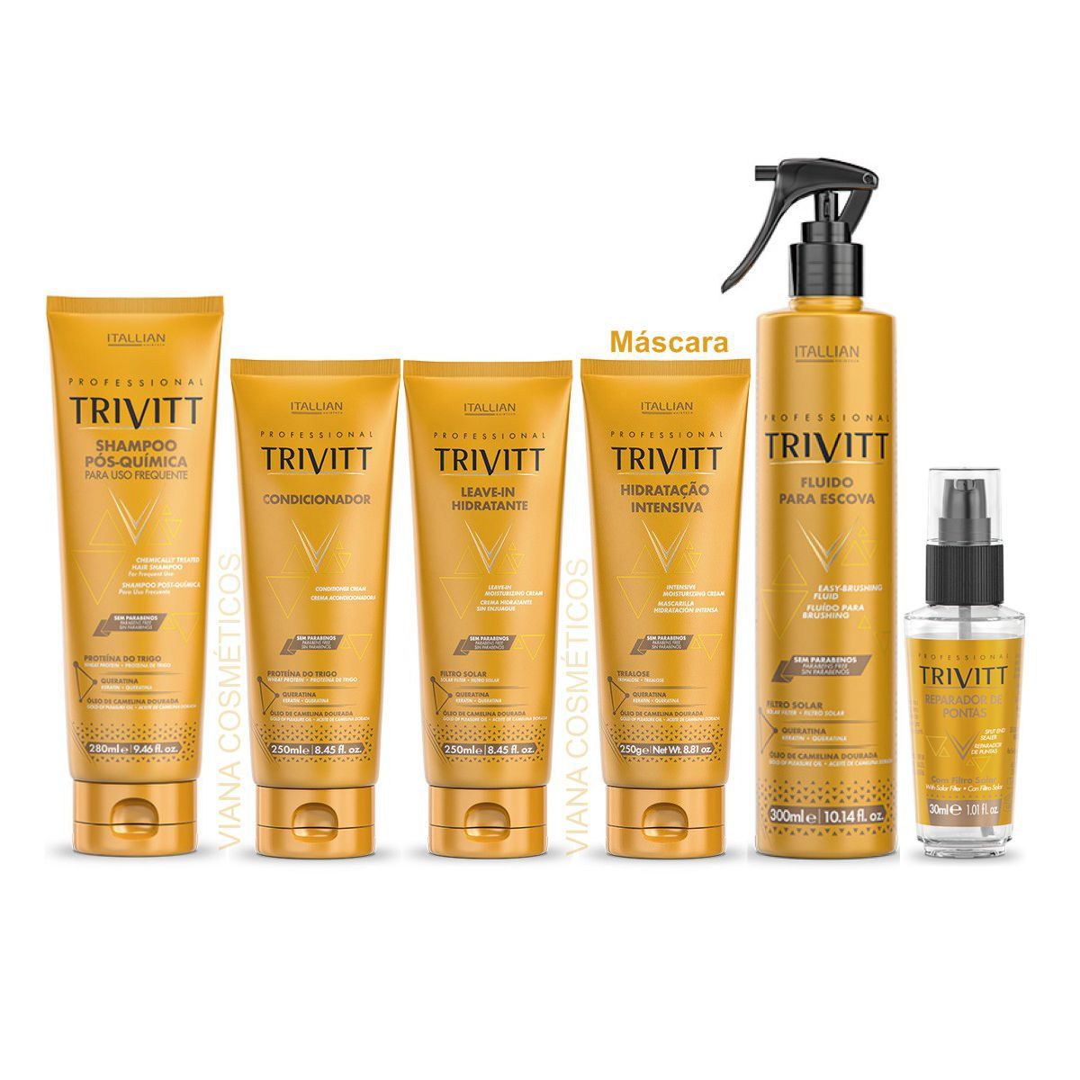 Kit Hidratação Profissional Trivitt c/ Home Care Fluido e Reparador