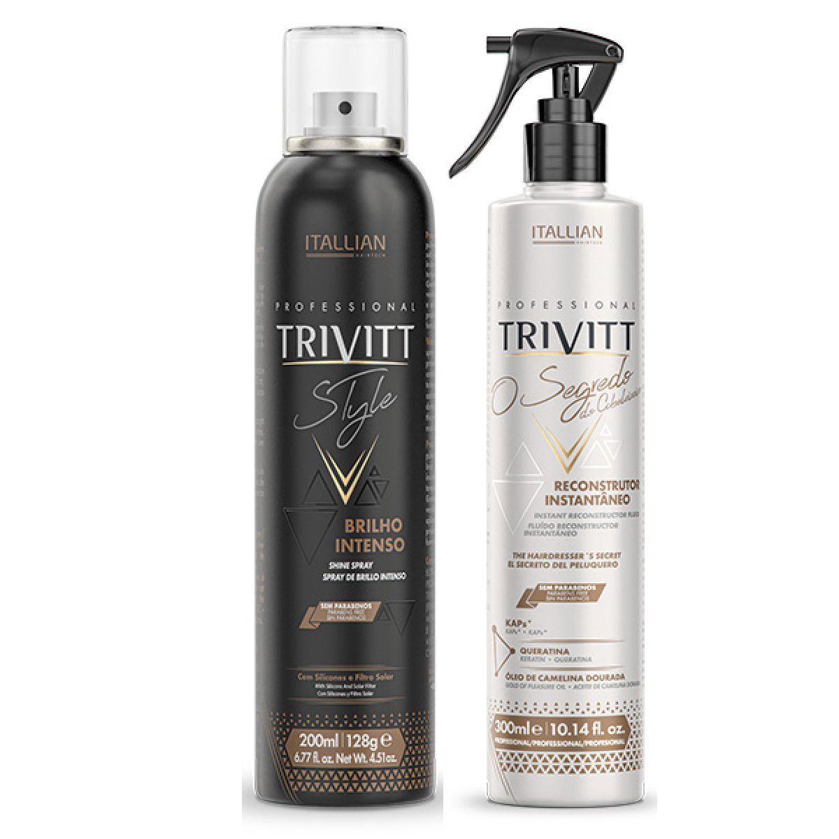 kit Spray De Brilho Intenso E Segredo Do Cabeleireiro Trivitt